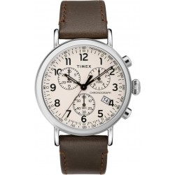 Timex Indiglo Chronograph 41mm Gents Leather Watch (TW2T21000) - Brown