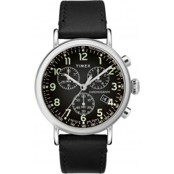 Timex Indiglo Chronograph 41mm Gents Leather Watch (TW2T21100) - Black