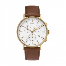Timex 41mm Indiglo Analog Ladies Leather Watch (TW2T32300)