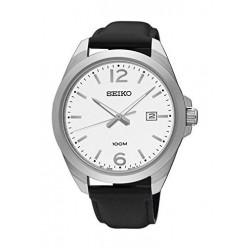 Seiko UR213P Gents Quartz Analog Watch – Leather Strap – Black