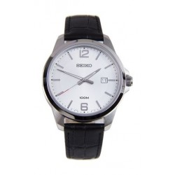 Seiko UR249P Gents Quartz Analog Watch Leather Strap – Black