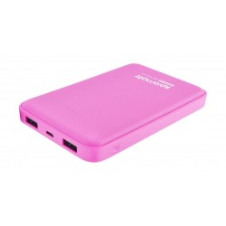 Promate 10000mAh Portable Power Bank with Dual USB Port - Pink