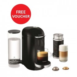 Nespresso VertuoLine Coffee & Espresso Maker with Aeroccino Plus Milk Frother - Black + Free Voucher