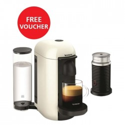 Nespresso VertuoLine Coffee & Espresso Maker with Aeroccino Plus Milk Frother - White + Free Voucher
