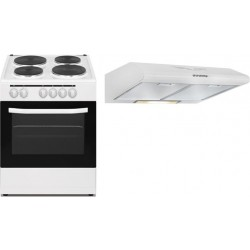 Wansa 60x60 Cm 4 Burner Electric Cooker + Wansa 60cm Built Under Cooker Hood