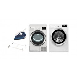 Beko 9 kg Front Loading Freestanding Condensation Dryer + Beko 9KG 1400RPM Front Load Washing Machine + Stacking Unit + Morphy Richards Breeze Steam Iron