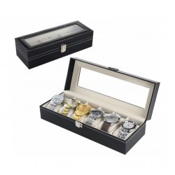 Storage Box for Watches 6 Pillows 30x11x8 CM (WBBLK-6) - Black