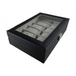 Storage Box for Watches 12 Pillows 30x20x8 CM (WBCF-12) - Carbon Fiber