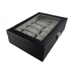 Storage Box for Watches 12 Pillows 30x20x8 CM (WBCF-12) - Carbon Fiber