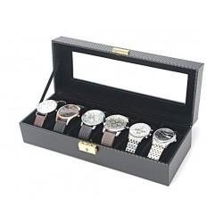 Storage Box for Watches 6 Pillows 30x11x8 CM (WBCF-6) - Carbon Fiber