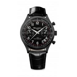 William L Vintage Style Chronograph Leather Watch - WLIB01NRCN