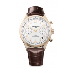 William L Vintage Style Chronograph Leather Watch - WLOR01BCORCM