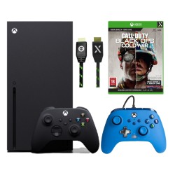 Xbox Series X 1TB Console with PowerA Enhanced Wired Controller Bold Blue and Numskull USB-C 4M Braided Cable and Call Of Duty Game
