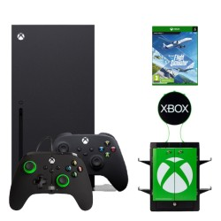 Xbox Series X 1TB Console with Numskull Gaming Locker and PowerA Enhanced Wired Controller Green Hint and Microsoft Flight Simulator Game