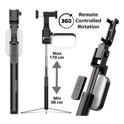 Promate Mediapod 360° Rotation LED Selfie Stand for Phone - Black