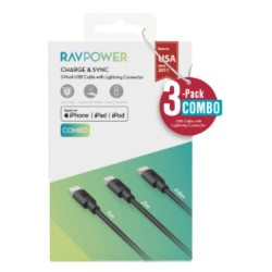 RAVPower 3-PACK USB to Lighting Cables (RP-CB045) - Black