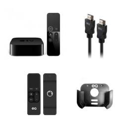 EQ 4K HDMI Cable 1.5M - Black + EQ Bundle - Apple TV Box Mount + Remote Control Sleeve – Black + Apple TV 4K 32GB