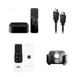 EQ 4K HDMI Cable 1.5M – Black + EQ Bundle - Apple TV Box Mount + Remote Control Sleeve – White + Apple TV 4K 64GB