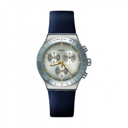Swatch DarkmeBlue Quartz Chronograph 43mm Leather Watch (YVS460)