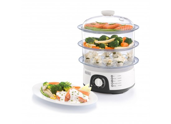 Black + Decker 775W 3 Tiers Food Steamer (HS6000) - White
