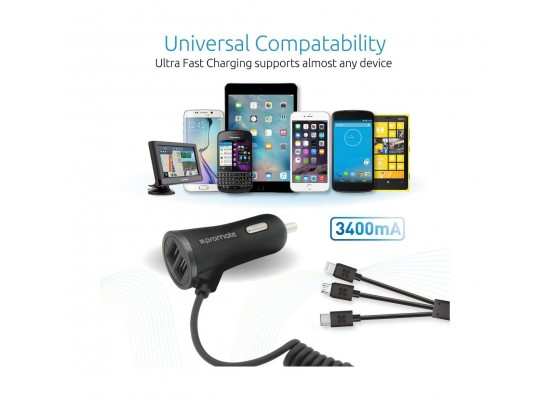 Promate Charger-Trio 3-in-1 Universal Car Charger with Dual USB Ports – Black