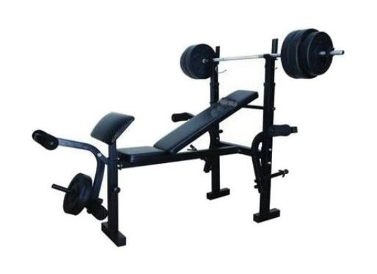 Wansa Fitness Exercise Bench With 50kg Weight Plates - Black