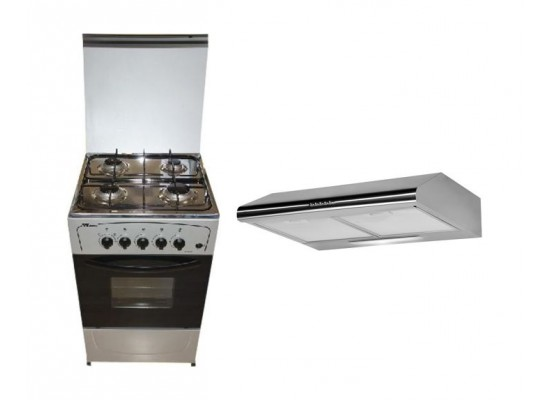 Wansa 50X50 Gas Cooker + Wansa 60cm Cooker Hood Stainless Steel