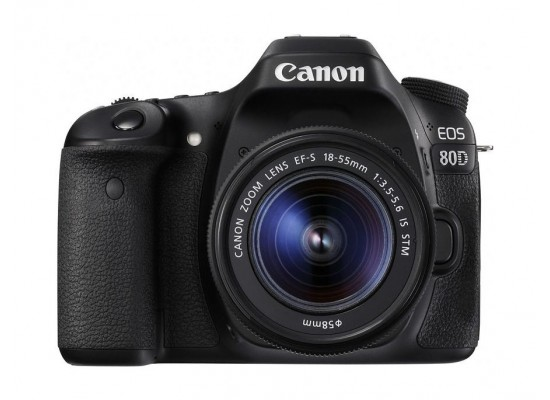 Canon EOS 80D 24.2MP WiFi DSLR Camera with 18-55mm Lens - Black
