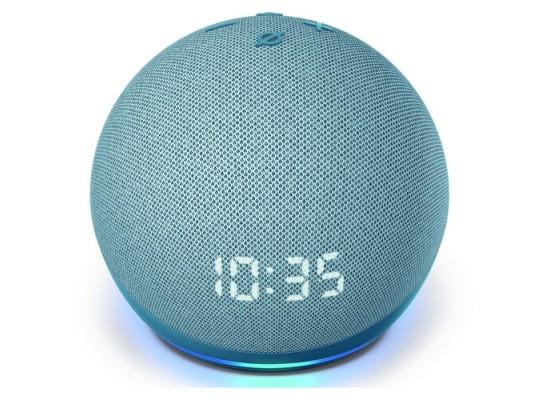 Amazon Echo Dot Speaker with Clock (4th Generation) - Blue