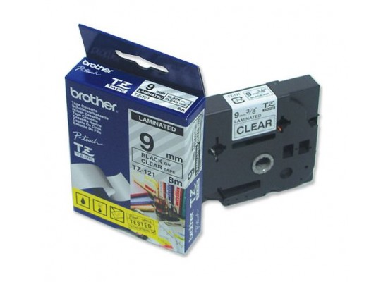 Brother Black On Clear Laminated Labeling Tape - 9mm (9TZ121)