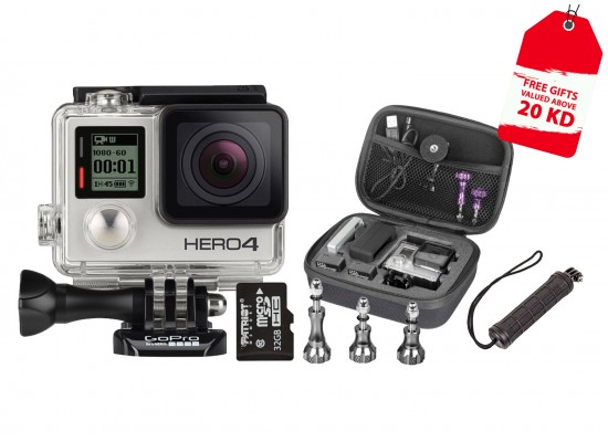 GoPro Hero 4 Silver Edition + 32 GB Micro SD Card + Xtreme Action Series Handgrip + Aluminum Thumb Knob Kit + Xtreme Action Series Case