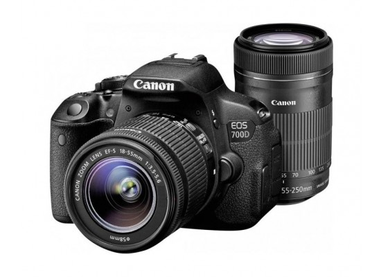 Canon EOS 700D 18MP DSLR Camera With EF-S 18-5mm f/3 5-5 6 IS ll + EF-S  55-250mm f/4-5 6 IS ll Zoom Lens