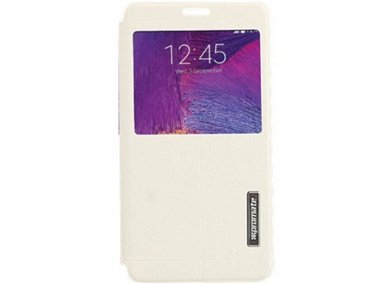 8b33b782e59 Promate Tama-N4 Leather Flip Cover with Touch Screen Window for Galaxy Note  4 - White
