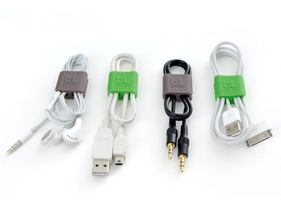BlueLounge Cable Clip 3 Packs - Green/Grey - Small