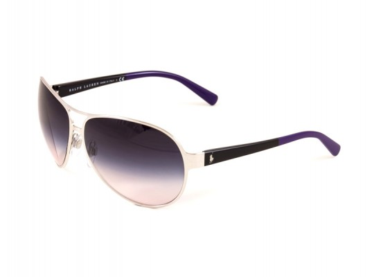 0cdee13a96 Ralph Lauren 7042 Aviator Sunglasses For Women - Silver Frames   Purple  Lenses