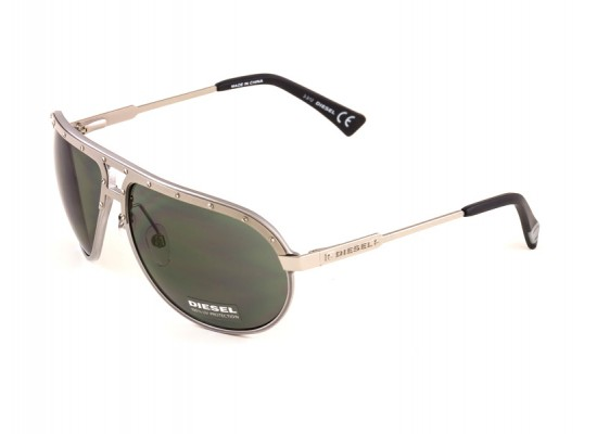 5336d2b62d Diesel 0053 Aviator Sunglasses For Men   Women - Silver Frames   Black  Lenses