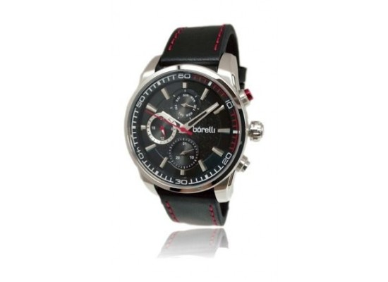 Borelli Gents Quartz Analog 44mm Sportive Leather Watch (20046241) - Black