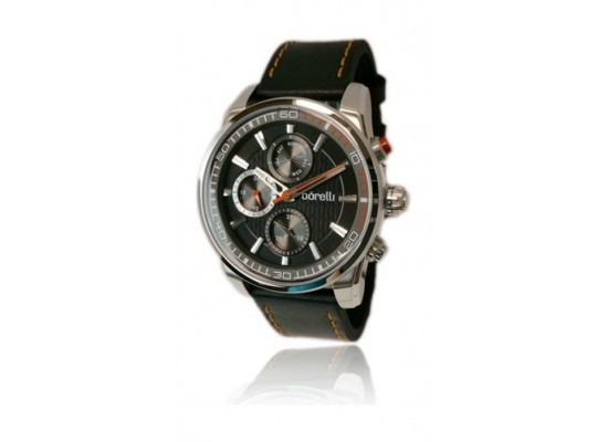 Borelli Gents Quartz Analog 44mm Ultra Marine Leather Watch (20046242) - Black
