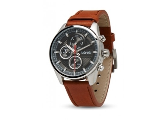 f6e18dfad اشتري ساعة بوريلي بعرض كرونوغراف وحزام من الجلد للرجال - ٤٤ ملم - بني  (20050038