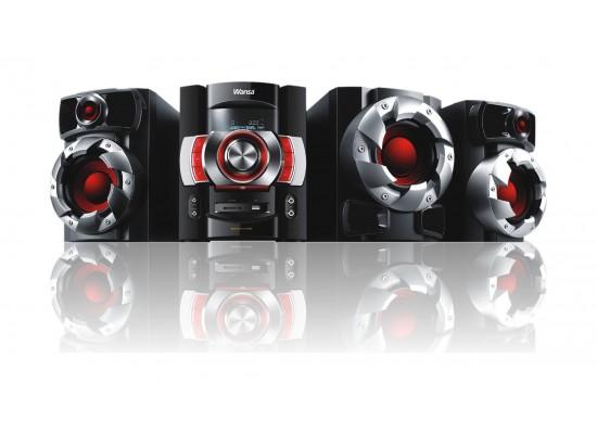 Wansa Bluetooth FM/CD/DVD/USB Mini Speaker System (HF-0121) - Black