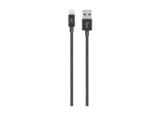 Belkin Braided Mixit Metallic Lightning to USB Cable 1.2 Meters (F8J144bt04) - Black
