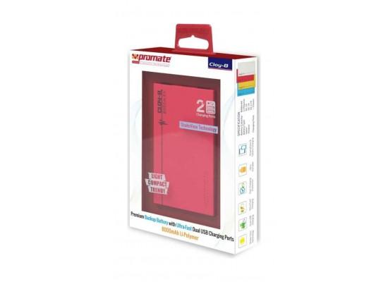 Promate Cloy-8 Premium Dual USB 8000mAh Power Bank - Pink