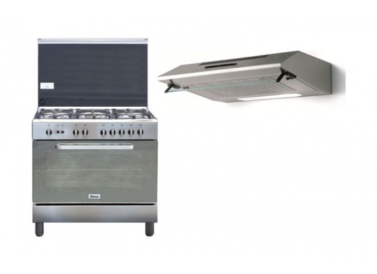 Wansa 90x60cm Gas Cooker Stainless Steel + Lagermania 90cm Undercabinet Cooker Hood