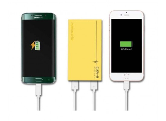 Promate Cloy-8 Premium Dual USB 8000mAh Power Bank - Yellow