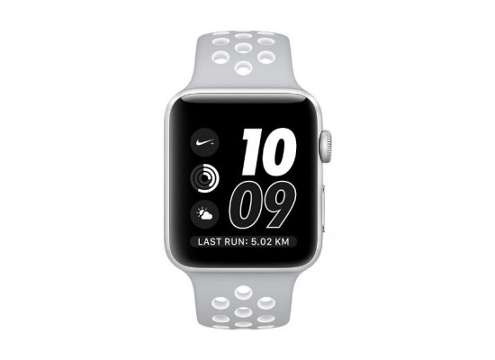 106f14ae5 Apple Watch Nike Series 2 38mm Silver Aluminum Case Flat with Silve White Sport  Band