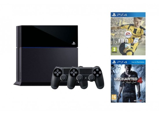 Sony PlayStation 4 1TB Console + 2 Controllers + FIFA 17 - PS4 Game + Uncharted 4: A Thief's End - Standard Edition | Xcite Alghanim Electronics - Best ...