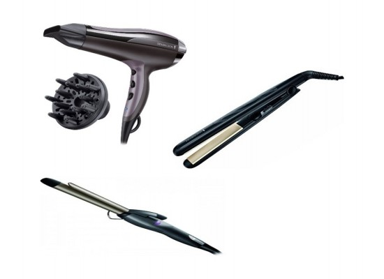 Remington Ceramic 230 Hair Straightener - Black + Remington Pro-Air Shine Hair Dryer - D5215 + Remington Hair Curler - Black
