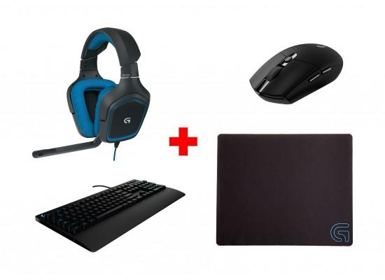 Logitech G213 Prodigy Gaming Keyboard (920-008093) + Logitech G305 Light  Speed Wireless Mouse (910-005283) - Black + Logitech G240 Cloth Gaming  Mouse