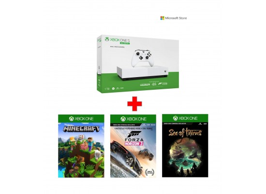 Xbox One S 1TB All Digital Edition Console with Minecraft, Sea of Thieves and Forza Horizon 3 DLC game