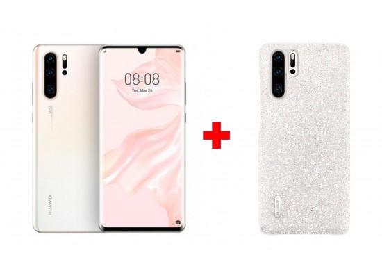 Huawei P30 Pro 128GB Phone - White + Huawei P30 Swarovski Case - Ice White